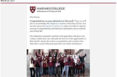Harvard acceptance